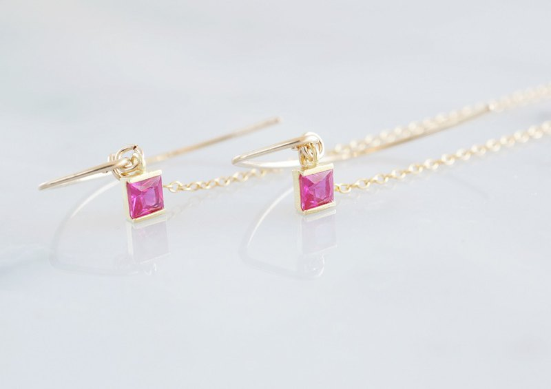 【14KGF/Siver925/Tiny】Leaf Hook Earrings, -CZ Square/Ruby-