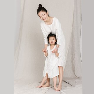 [bufu-kids] soft linen dress in white-- mom-and-kid's set  TD161102/D140404