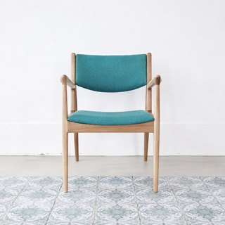 Micro sofa oak armchair (peacock blue) (cloth color can be selected)