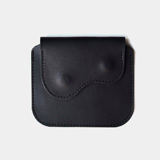 [God's chest pocket] vegetable tanned leather purse black leather card holder coin purse