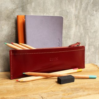Pencil case - Pie - Red (Genuine Cow Leather) / Pen case / Accessories Case