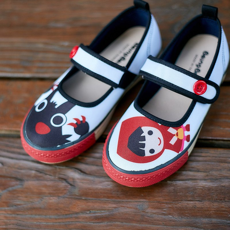 Little Red Riding Hood Button Doll Shoes-White