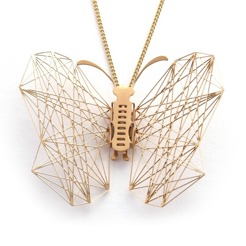 Exchangeable Wings Butterfly Necklace Geometric (Golden) Thin Steel Jewelry Designed and Made in Taiwan