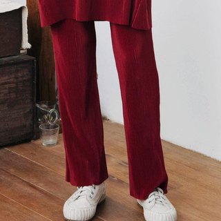 MAROON RED PLEAT PANTS WITH ELASTIC HIGH WAIST