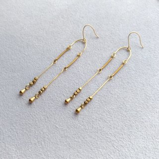 E010- heard - brass hanging pin / clip earrings