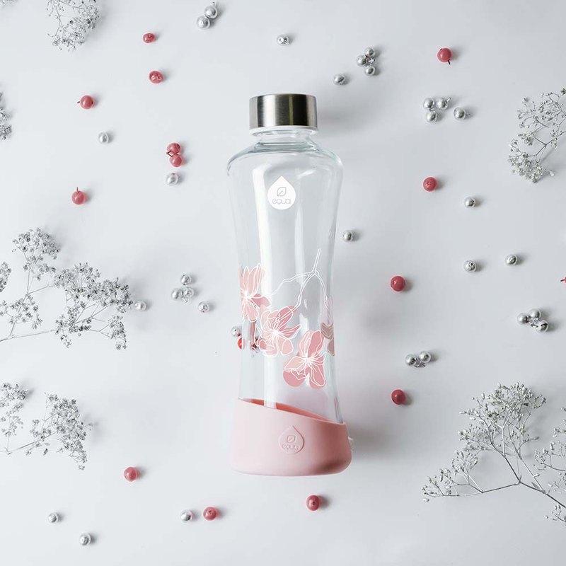 耐熱曲線玻璃瓶550ml- 粉色玉蘭