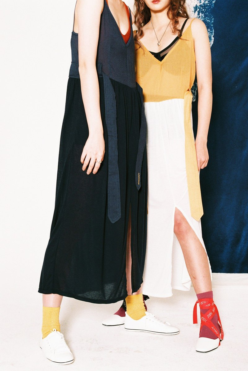 "◊ ""VERY LIGHT"" BELTED LONG DRESS ◊ / (mustard)"