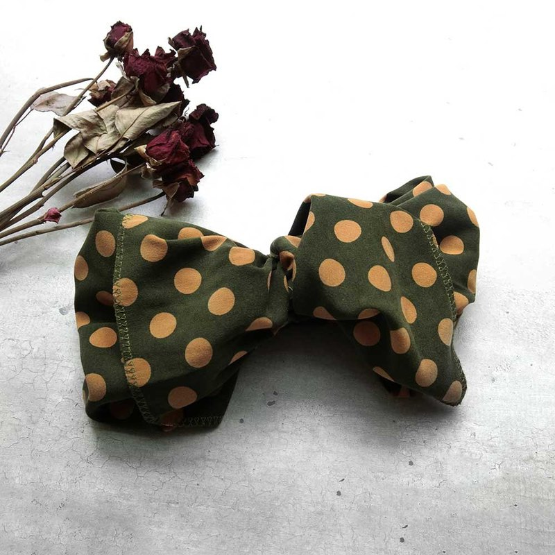 [Shell art] giant butterfly hair band (retro-dotted olive green) - the entire detachable!