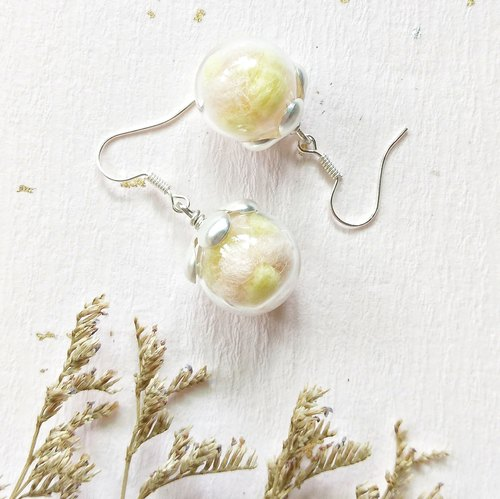 Yellow flower fairy hand wool earrings can change ear clip