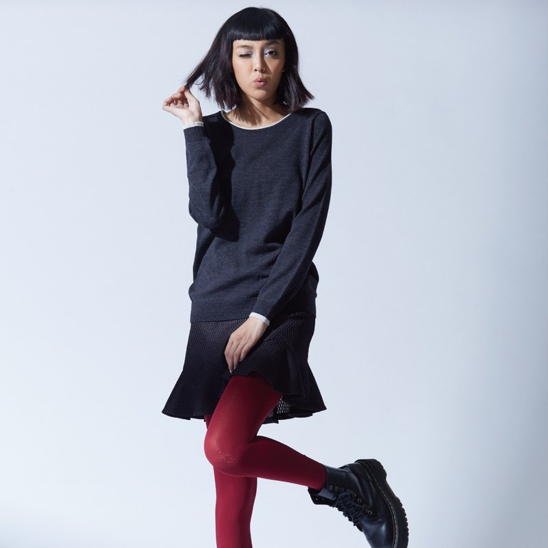 Wool round neck sweater - temperament black