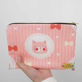 Mixed Material Pouch with Pink Cat