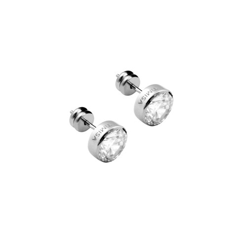Bright crystal diamond - white pure titanium ear a pair