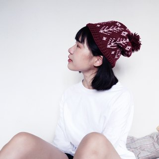 RedCheeks Wool Hat Cap | Yarn Hat | Christmas Tree - Red Color - หมวกไหมพรม