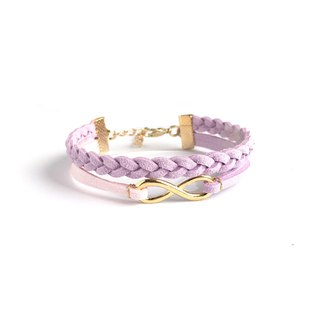 Handmade Double Braided Infinity Bracelets Rose Gold Series–lavender purple