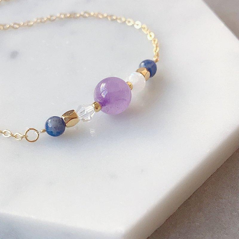 薰衣草紫晶 藍紋石 月光石 天然石 鍍金手鍊 好朋友 生日禮物