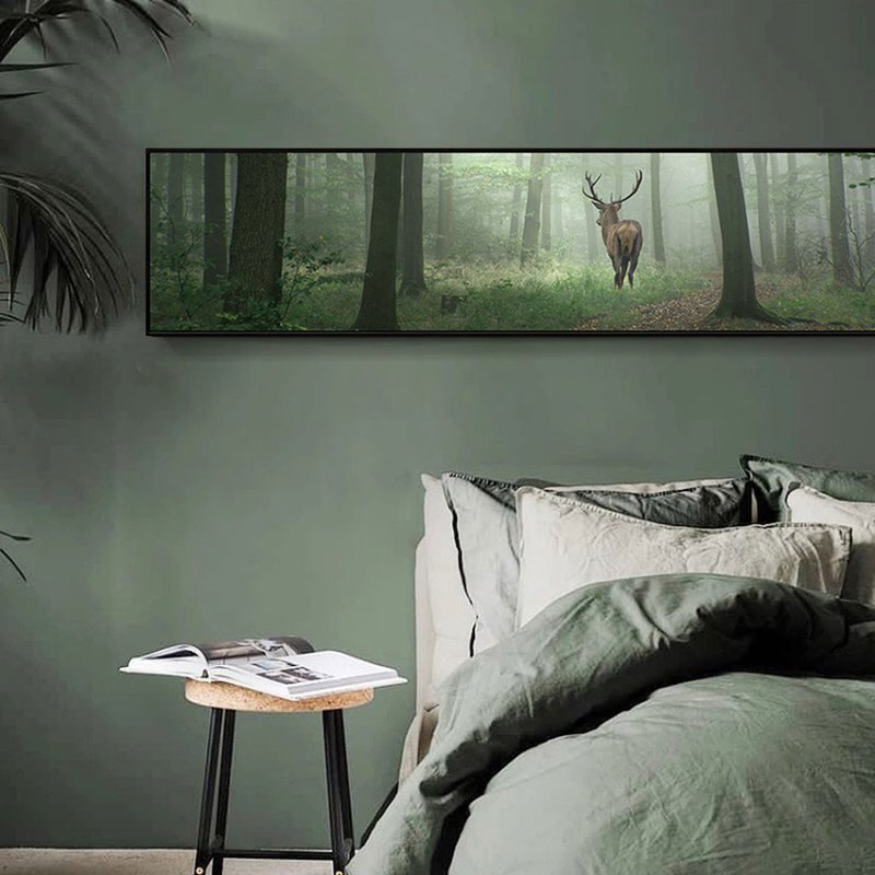 Early morning in the forest-bedroom paintings / dining room / living room / large size / home display / commercial space / elk / tree