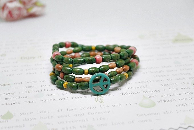 Stained wood beads elastic bracelet No.2