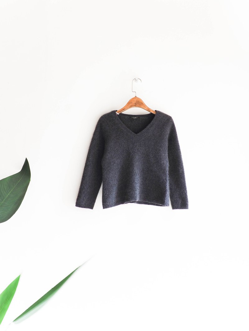 River Water Mountain - Fukushima Mouse Gray Velvet Soft V-neck Youth Handmade Antique Kashmir Cashmere Top