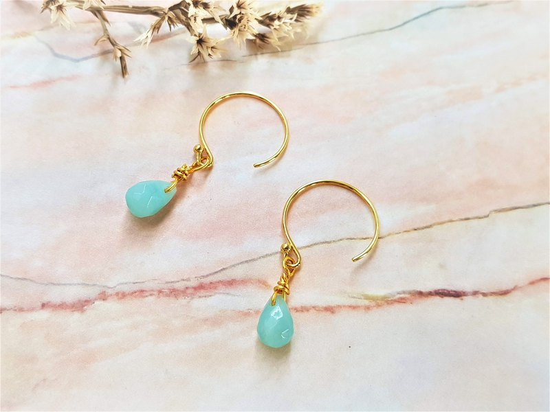 Big Women's Mint Candy Earrings-Teardrop Type / Natural Stone