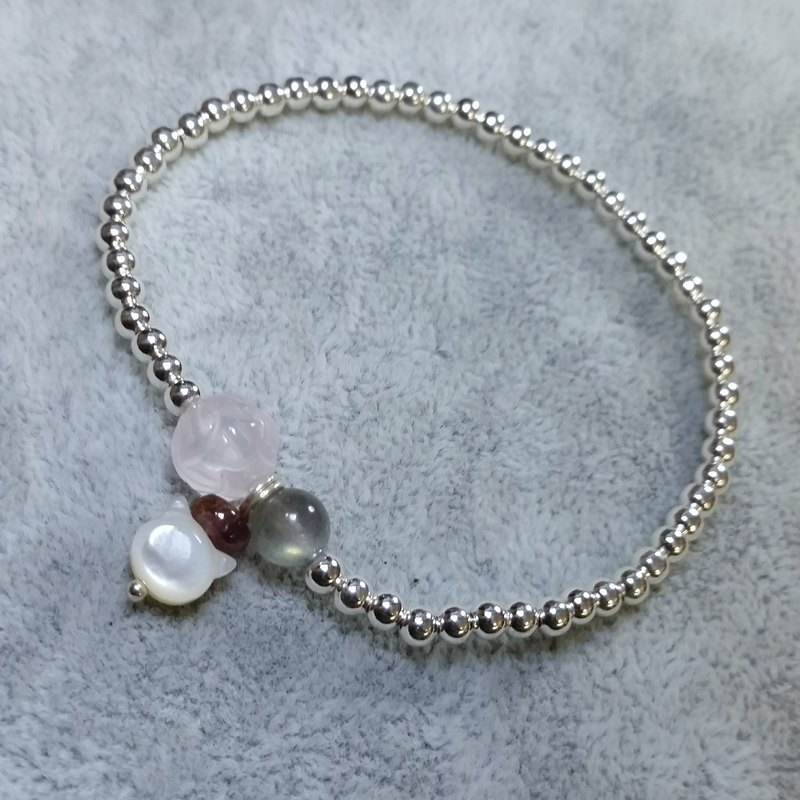 925 sterling silver beads - carved pink crystal, elongated stone, Bi 垔 flat beads, Fritillaria kitten bracelet Pink quartz, labradorite, tourmarine, cat shape mother pearl 925 silver bracelet