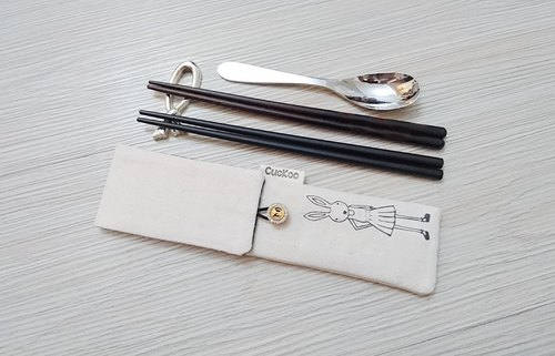 Green tableware storage bag chopsticks bag combination chopsticks special double chopsticks bag hand-painted rabbit Miss models