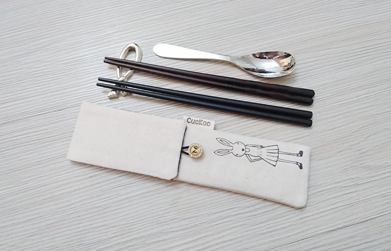 Environmental protection tableware storage bag chopsticks bag combination chopsticks special double-layer chopsticks bag hand-painted rabbit model