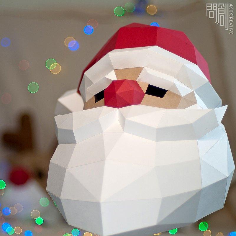 DIY手作3D紙模型擺飾 聖誕節/節慶系列 - 聖誕老公公面具