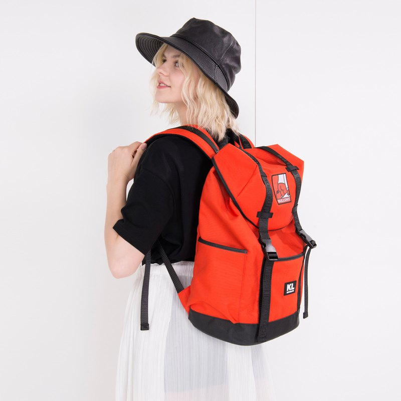 Kiitoslife rebellious theme outdoor backpack - bullshit orange red