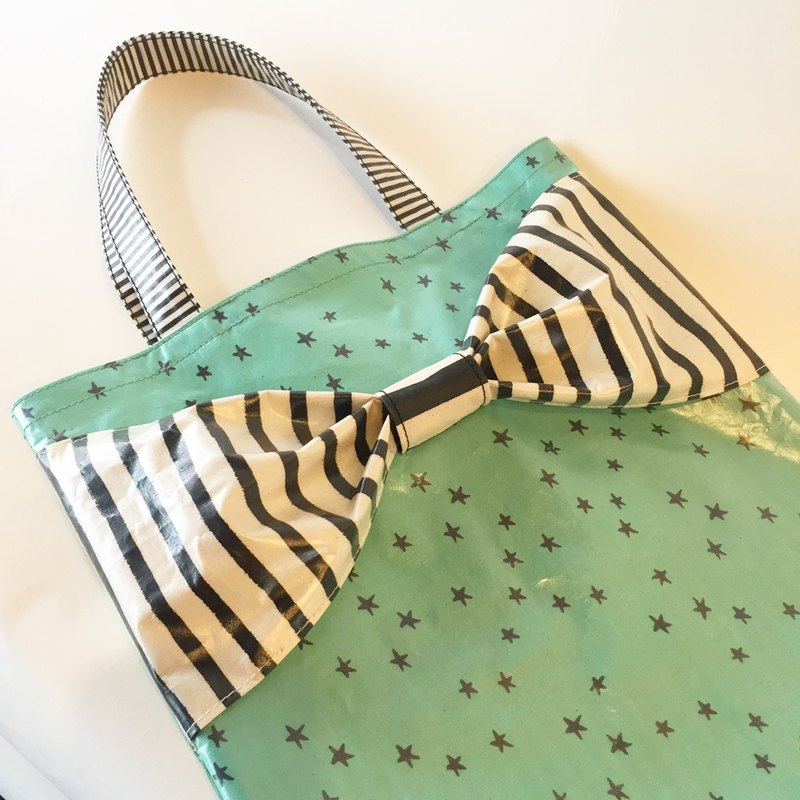one-of-a-kind flat totebag Spin Off MINT GREEN STAR&BORDERS ribbon PVC