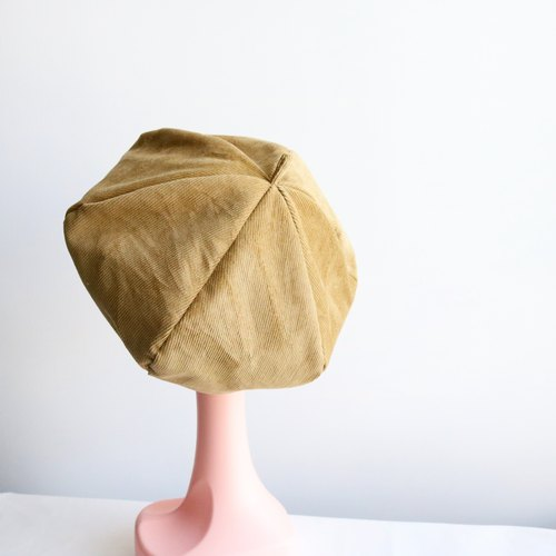 Khaki handmade double-sided hexagonal hat painter's cap