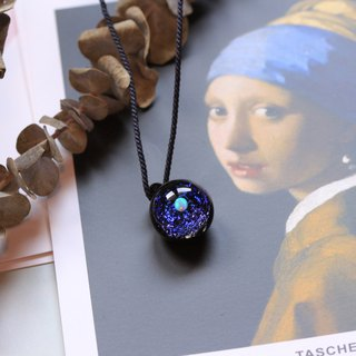 Spaceglass Shining Blue Pendant with white Opal (PN4)