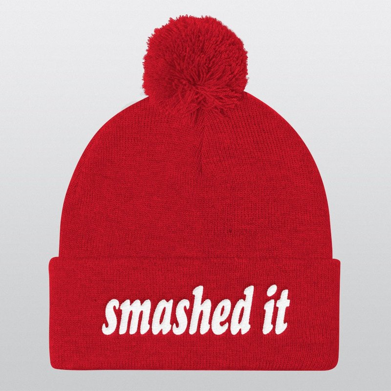 Smashed It, Pom Pom Hat, Beanie, Beanie Hat, Pom Pom Beanie, Instagram Prop, Gift Ideas, Christmas Gifts, Winter Hat, Photo Booth, Cool Hat