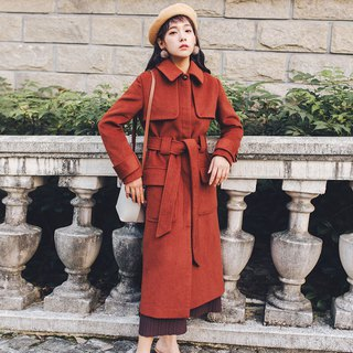 2018 autumn and winter women's new wide belt with dark door 襟 long coat