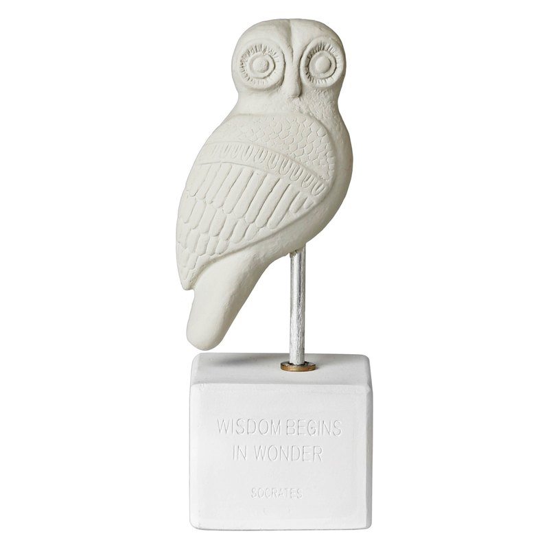 Ancient Greek Owl Ornament Owl Heron (Cold Grey) - Handmade Ceramic Statue
