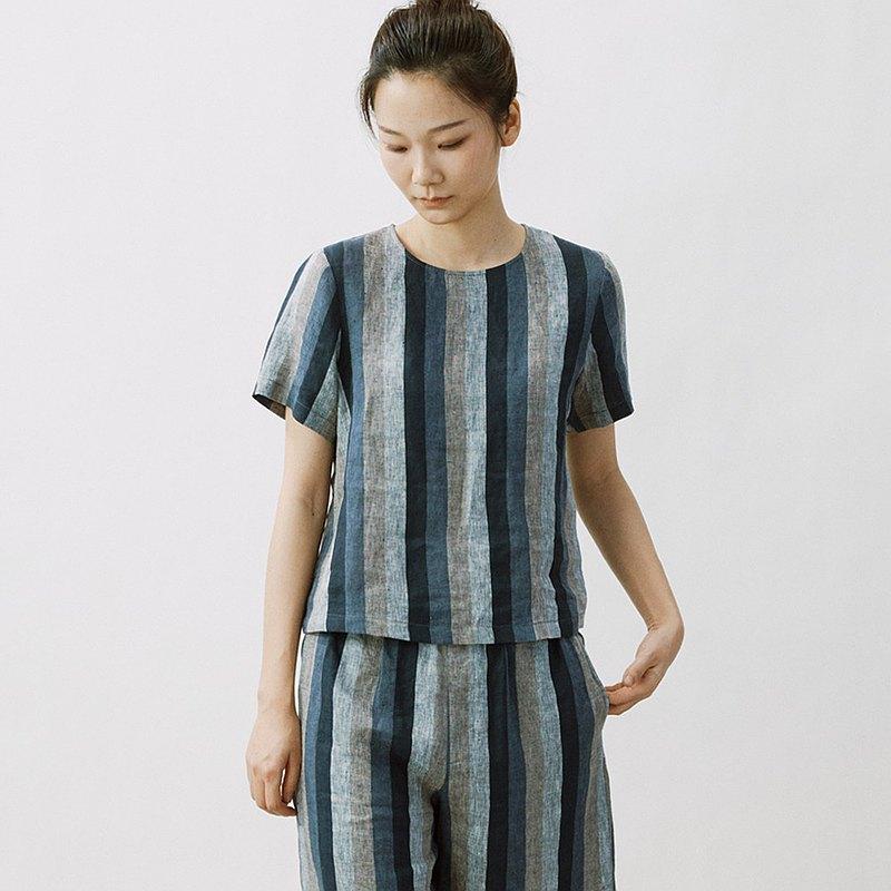 色織亞麻短袖Tee  復古套頭衫  SH200156
