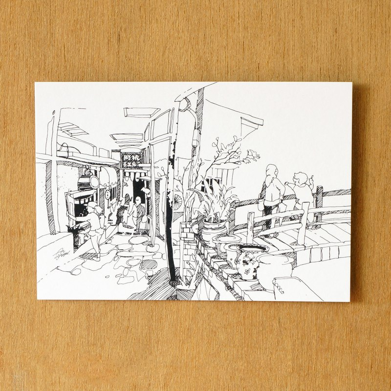 """One color"" series of hand-painted postcard 『 Taiwan ‧ Shiding old streets』"