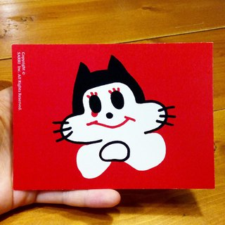 Touched Cat (A3 size poster can be made) Birthday Card Design Coloring Illustrator Picture Card Universal Card Art Love Special Funny Strange Character Strange Cute Taiwan