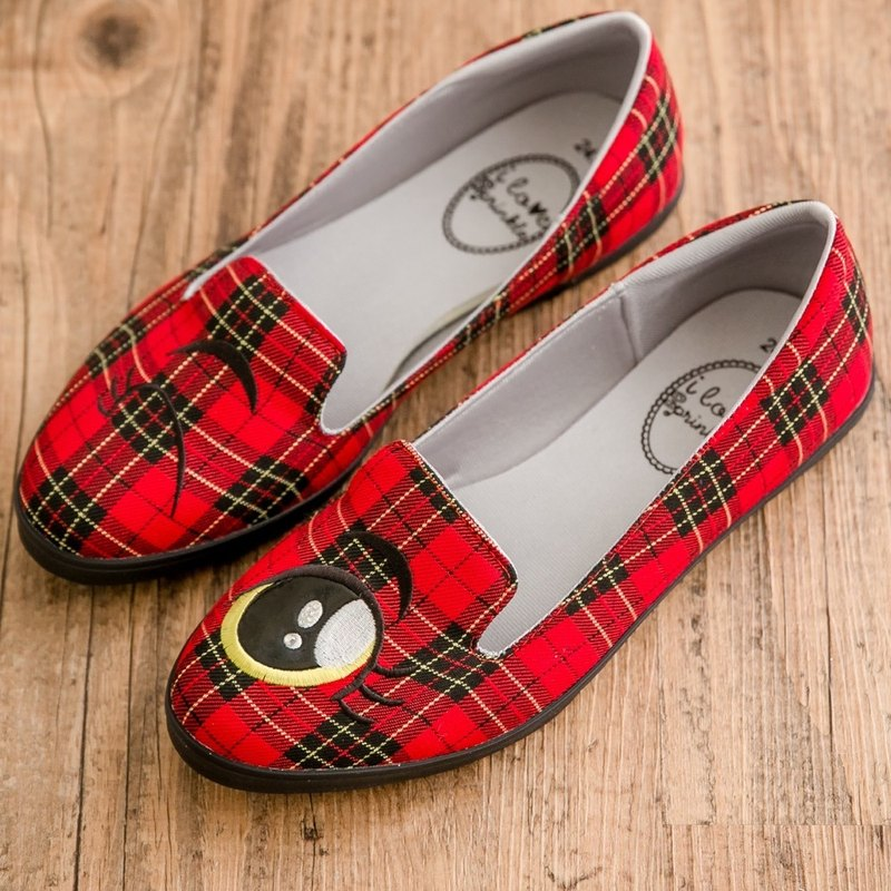 Mina red plaid blinking loafers (adult)