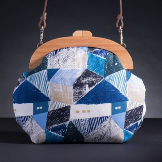 [Collage Blue Mosaic] retro wooden mouth gold package - Mocha # bag # Wenqing # New Year's gift # Valentine's Day gift