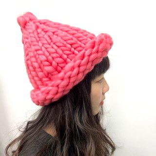 MINIxROSE coarse and warm hand-knitted hat - peaches