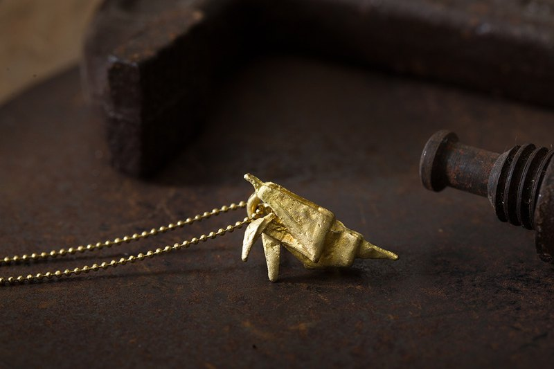 Origamini brass pouch necklace Brass Shrimp Necklace
