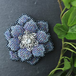 Beaded Flower Brooch (Blue)