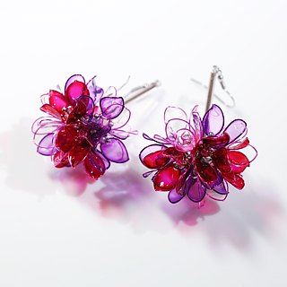 Flower Ball Transparent Purple Handmade Jewelry Earrings Pair