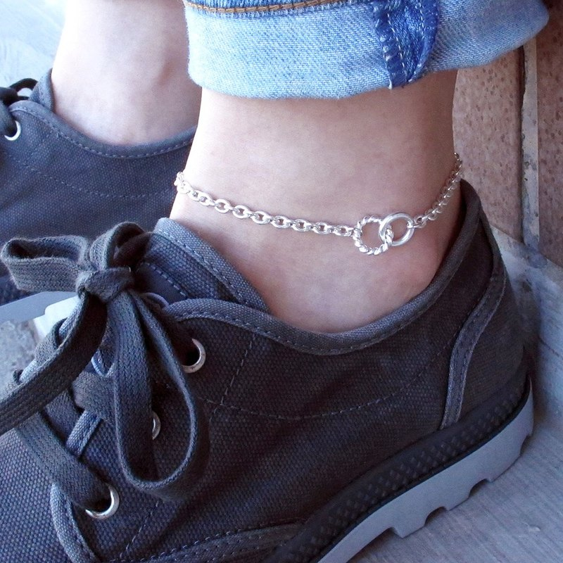 Coiled Twist-925 Sterling Silver Anklet (Men)