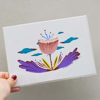 Japanese-style retro floral fun hand illustration
