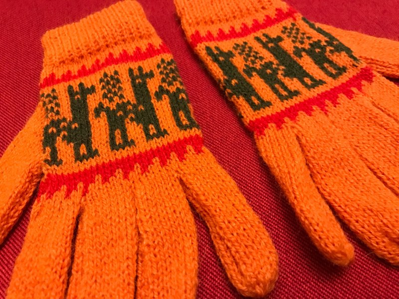 Alpaca wool gloves fingers long walk - Orange