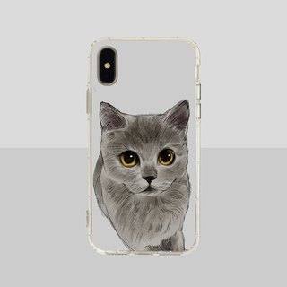 Big face blue cat embossed air shell-iPhone/Samsung, HTC.OPPO.ASUS pet phone case
