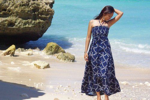 Restock! Starfish ruffle long dress <navy>