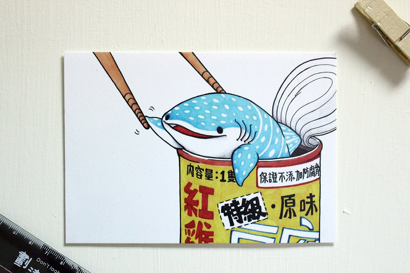 Tofu shark spot spot whale shark postcard red chicken tofu shark canned