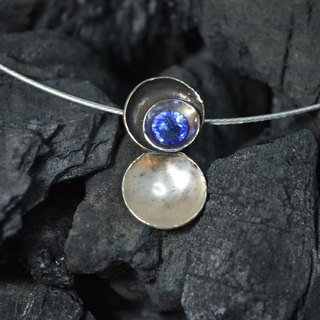 sterling silver pendant with an swarovski blue cabochon glass - Handmade in Spain